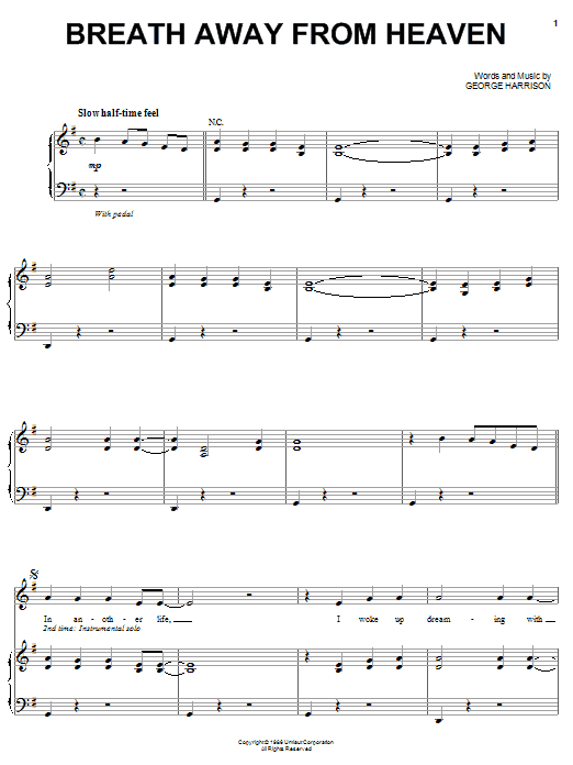 Download George Harrison Breath Away From Heaven sheet music and printable PDF score & Rock music notes