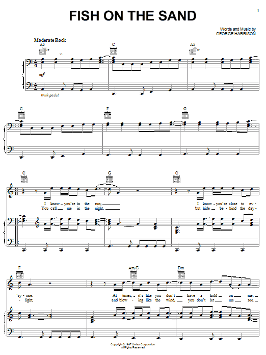 Download George Harrison Fish On The Sand sheet music and printable PDF score & Rock music notes