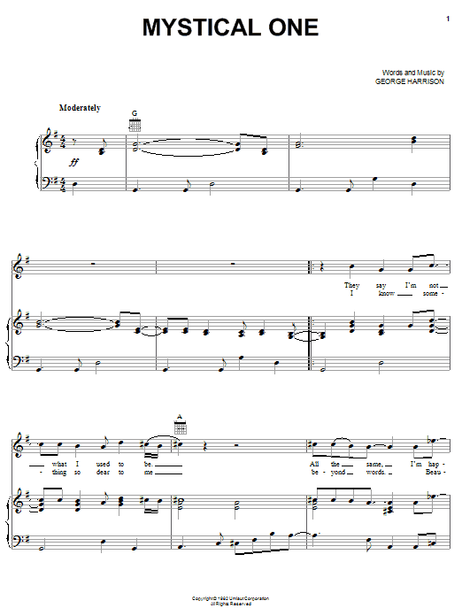 Download George Harrison Mystical One sheet music and printable PDF score & Rock music notes