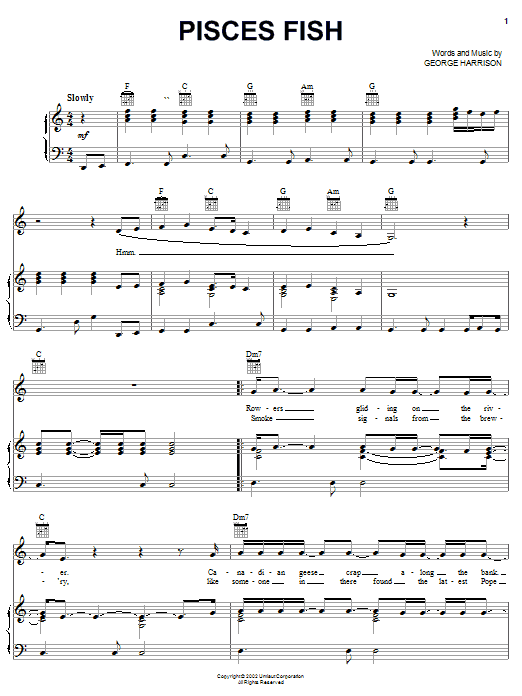Download George Harrison Pisces Fish sheet music and printable PDF score & Rock music notes
