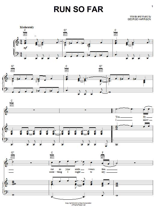 Download George Harrison Run So Far sheet music and printable PDF score & Rock music notes