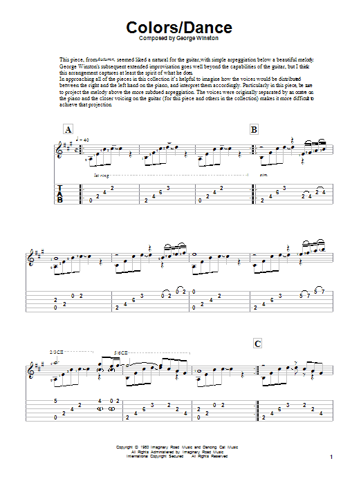 Download George Winston Colors/Dance sheet music and printable PDF score & Classical music notes