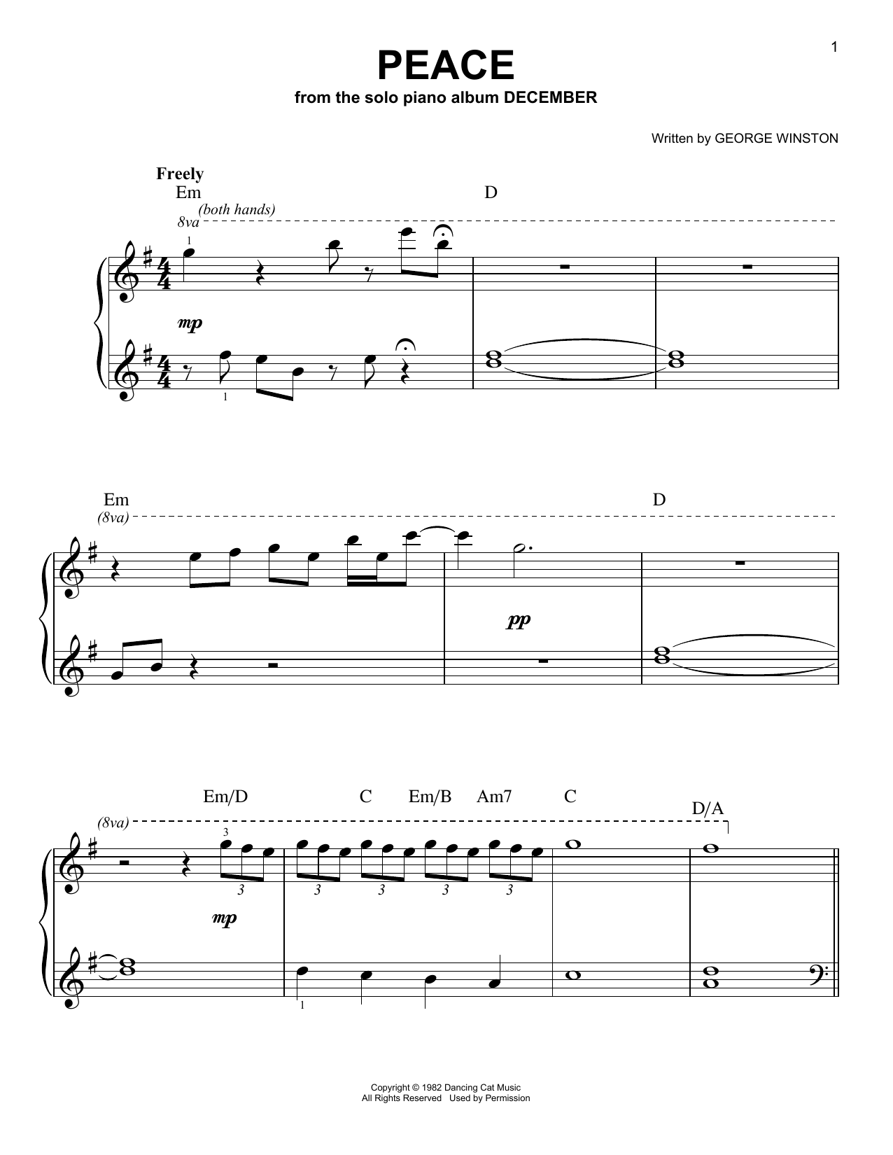 Download George Winston Peace sheet music and printable PDF score & Easy Listening music notes