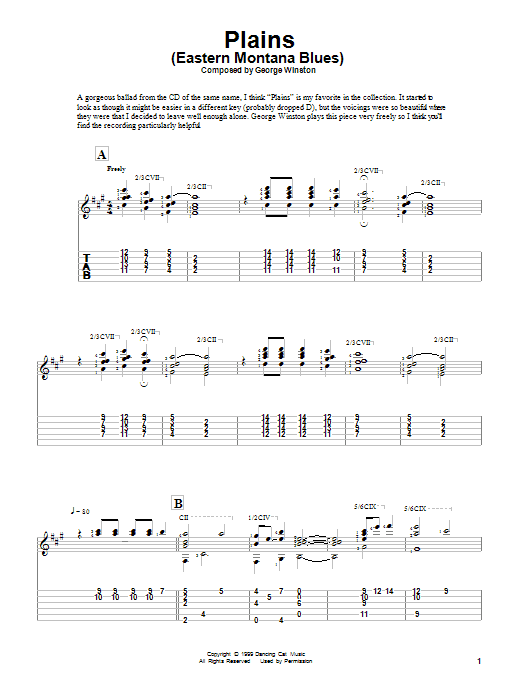 Download George Winston Plains (Eastern Montana Blues) sheet music and printable PDF score & Classical music notes