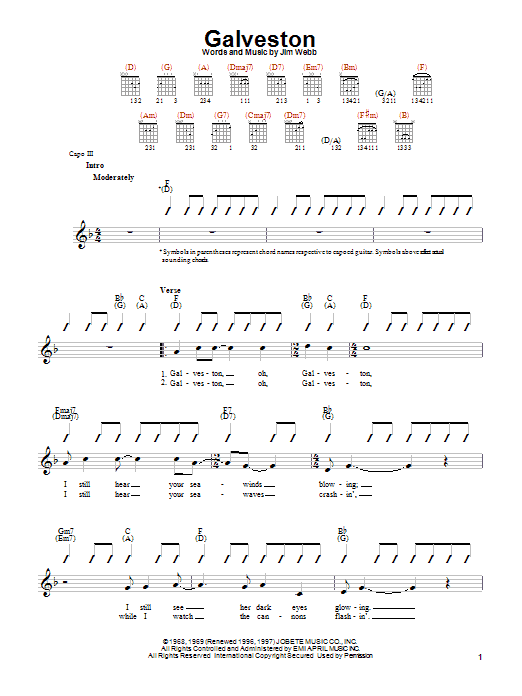Download Glen Campbell Galveston sheet music and printable PDF score & Country music notes