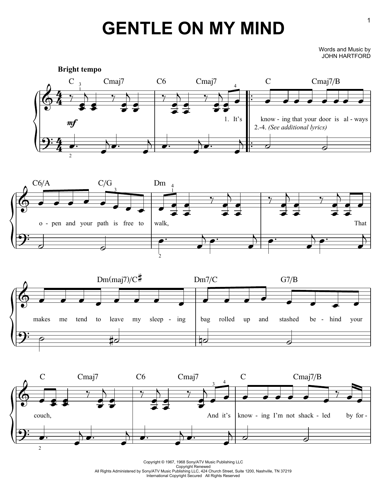 Download Glen Campbell Gentle On My Mind sheet music and printable PDF score & Folk music notes
