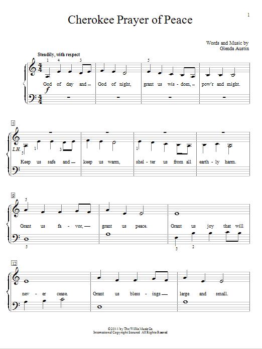 Download Glenda Austin Cherokee Prayer Of Peace sheet music and printable PDF score & Children music notes