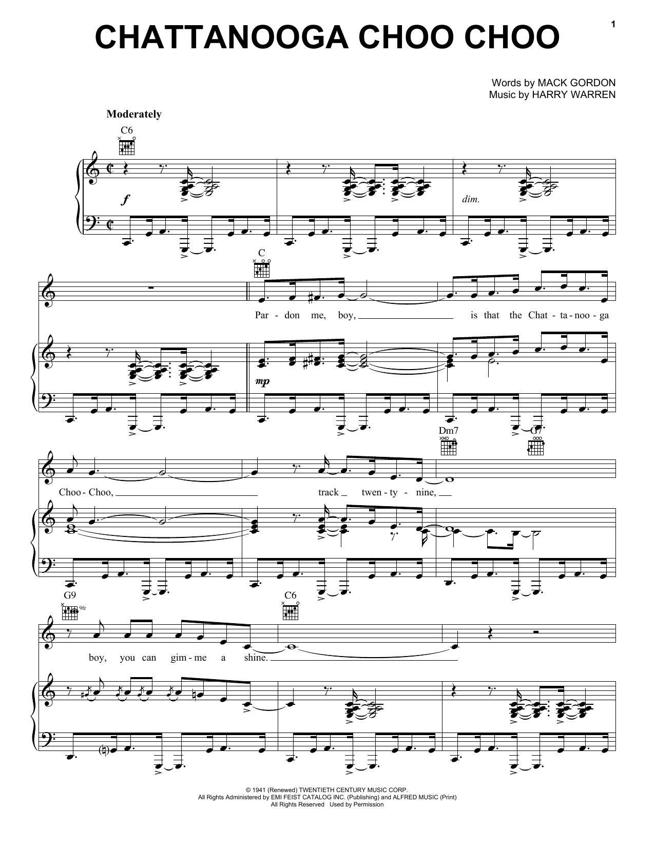 Download Glenn Miller Chattanooga Choo Choo sheet music and printable PDF score & Jazz music notes