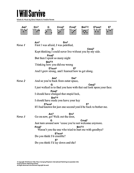 Download Gloria Gaynor I Will Survive sheet music and printable PDF score & Disco music notes