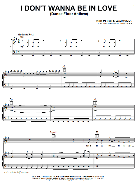 Download Good Charlotte I Don't Wanna Be In Love (Dance Floor Anthem) sheet music and printable PDF score & Rock music notes