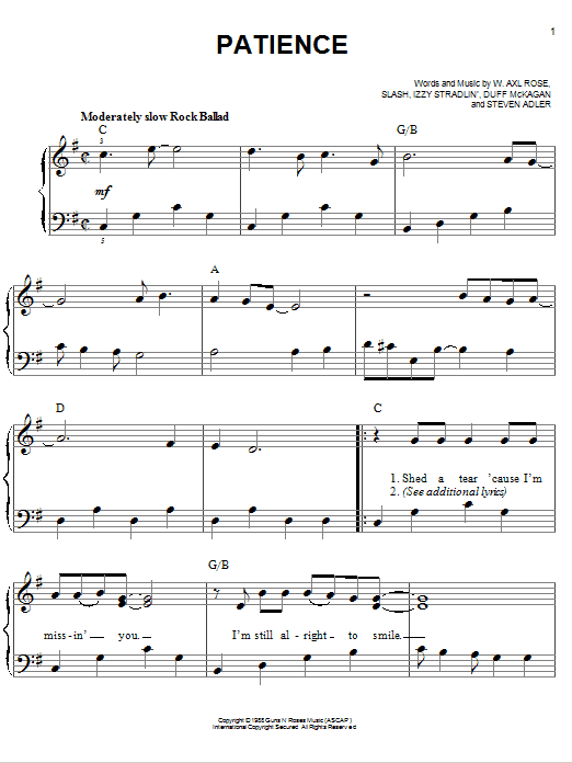 Download Guns N' Roses Patience sheet music and printable PDF score & Pop music notes
