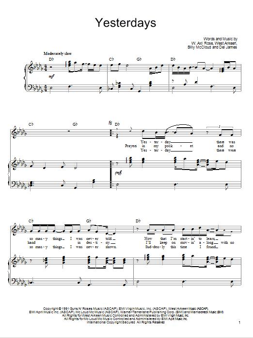 Download Guns N' Roses Yesterdays sheet music and printable PDF score & Pop music notes