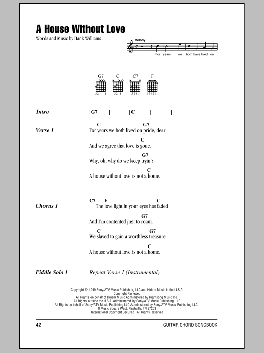 Download Hank Williams A House Without Love sheet music and printable PDF score & Country music notes
