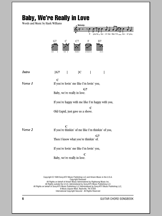 Download Hank Williams Baby, We're Really In Love sheet music and printable PDF score & Country music notes