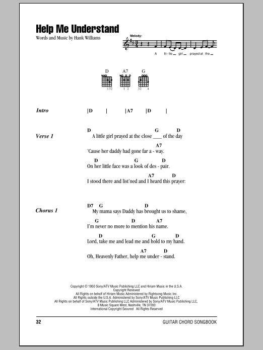 Download Hank Williams Help Me Understand sheet music and printable PDF score & Country music notes