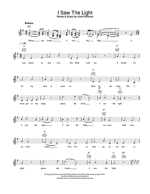 Download Hank Williams I Saw The Light sheet music and printable PDF score & Country music notes