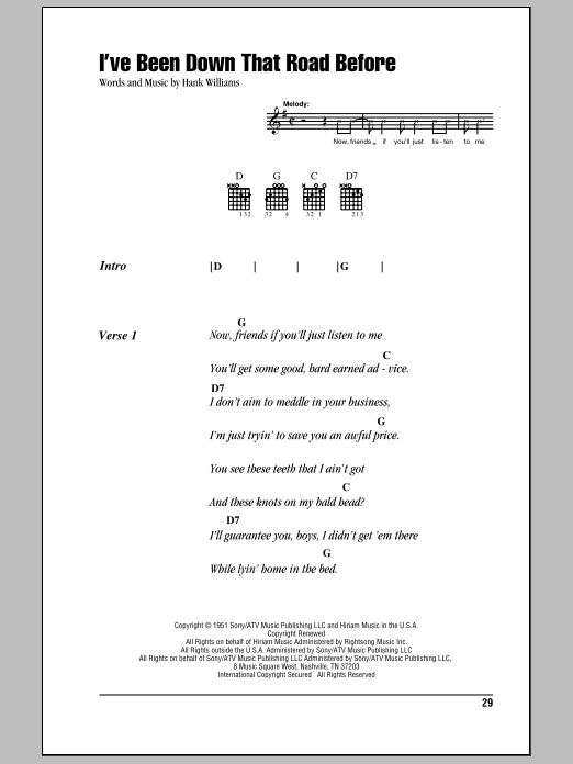 Download Hank Williams I've Been Down That Road Before sheet music and printable PDF score & Country music notes
