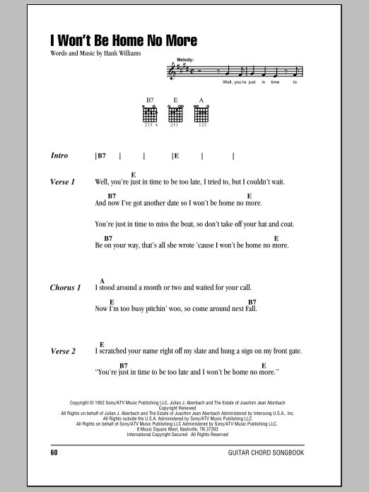Download Hank Williams I Won't Be Home No More sheet music and printable PDF score & Country music notes