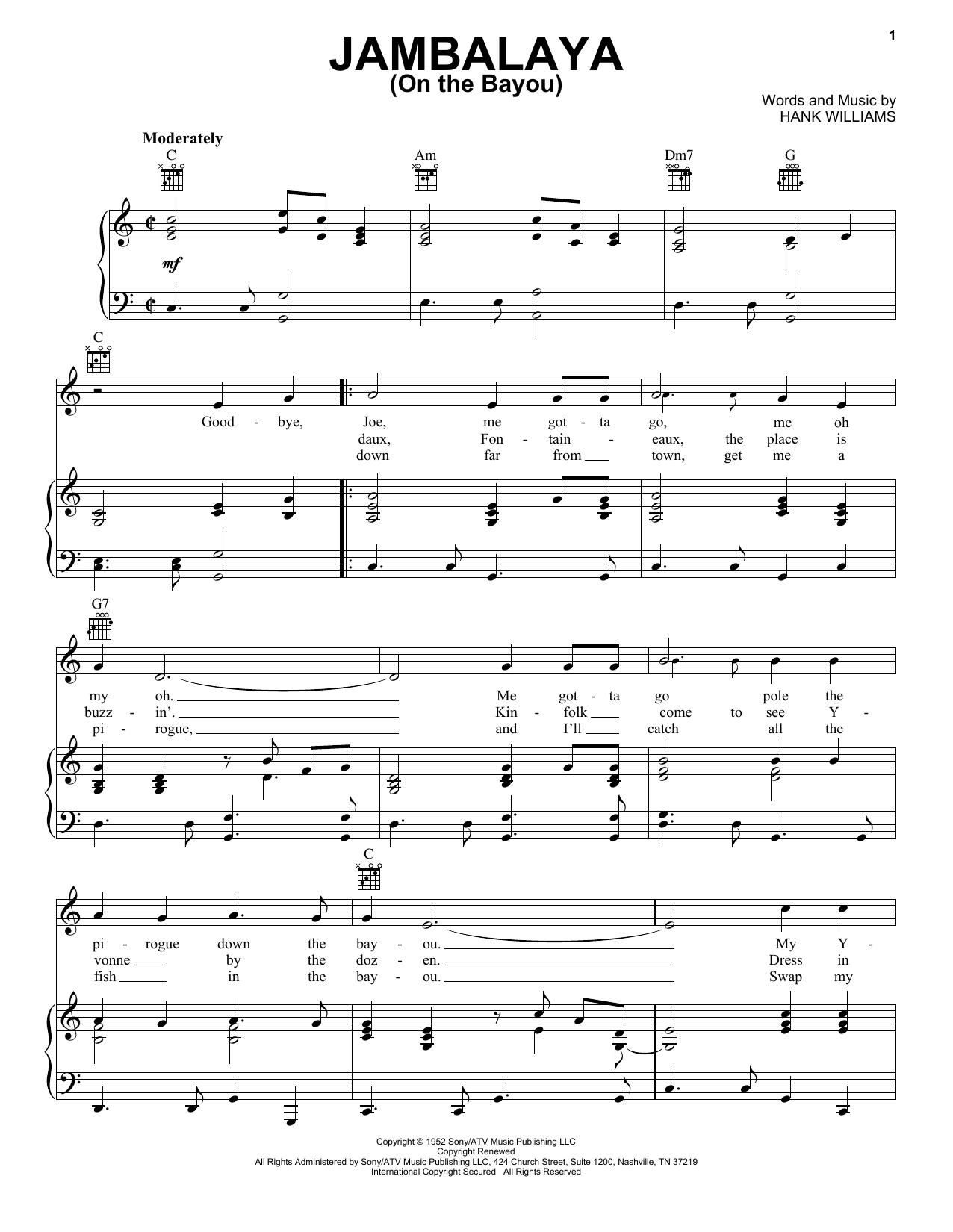 Download Hank Williams Jambalaya (On The Bayou) sheet music and printable PDF score & Country music notes