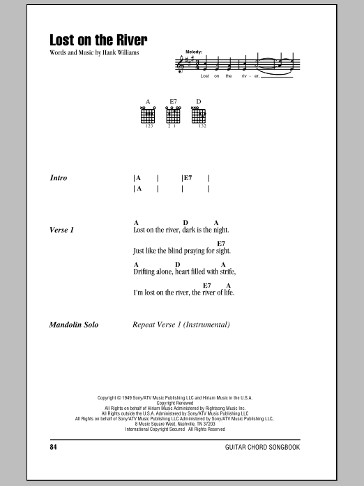 Download Hank Williams Lost On The River sheet music and printable PDF score & Country music notes