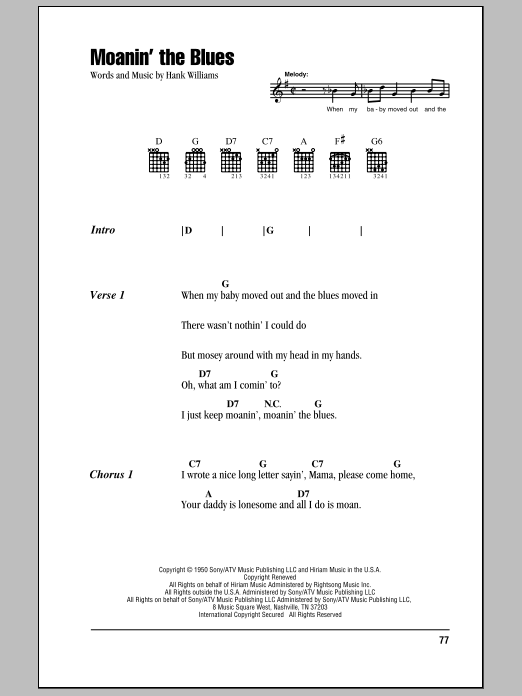 Download Hank Williams Moanin' The Blues sheet music and printable PDF score & Country music notes