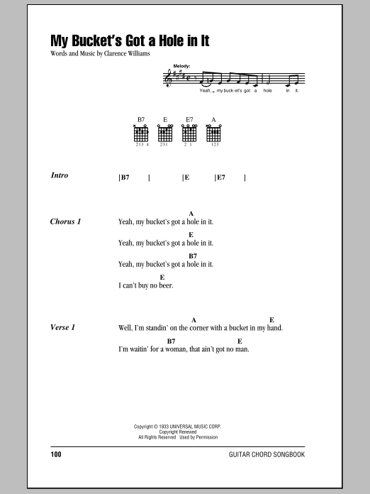 Download Hank Williams My Bucket's Got A Hole In It sheet music and printable PDF score & Country music notes