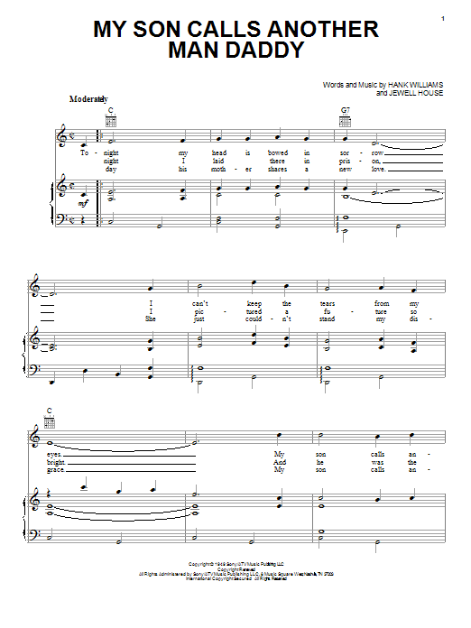 Download Hank Williams My Son Calls Another Man Daddy sheet music and printable PDF score & Country music notes