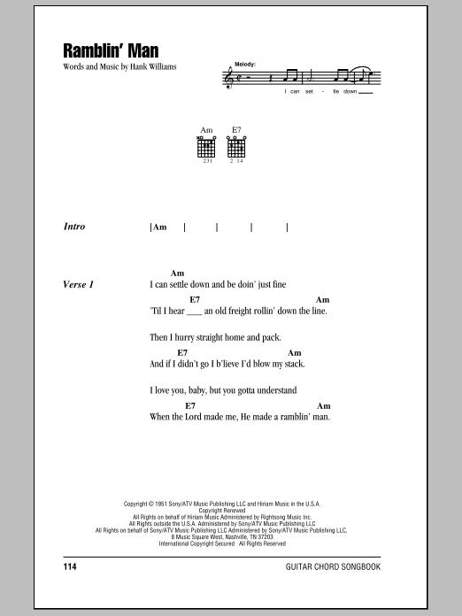 Download Hank Williams Ramblin' Man sheet music and printable PDF score & Country music notes