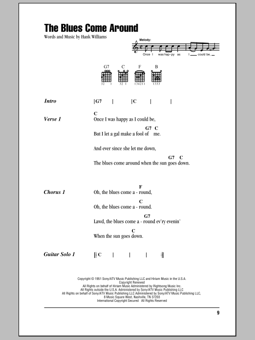 Download Hank Williams The Blues Come Around sheet music and printable PDF score & Country music notes