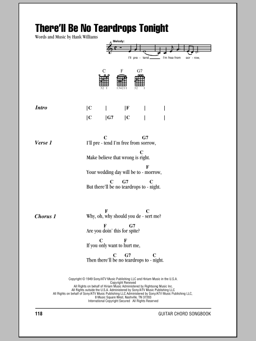 Download Hank Williams There'll Be No Teardrops Tonight sheet music and printable PDF score & Country music notes