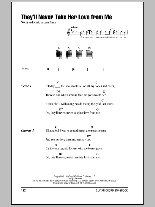 Download Hank Williams They'll Never Take Her Love From Me sheet music and printable PDF score & Country music notes