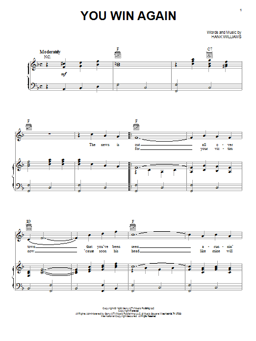 Download Hank Williams You Win Again sheet music and printable PDF score & Country music notes