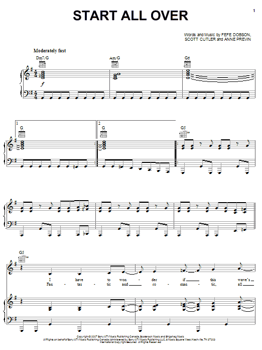 Download Hannah Montana Start All Over sheet music and printable PDF score & Pop music notes