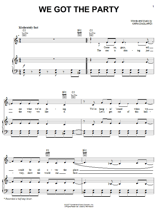 Download Hannah Montana We Got The Party sheet music and printable PDF score & Pop music notes