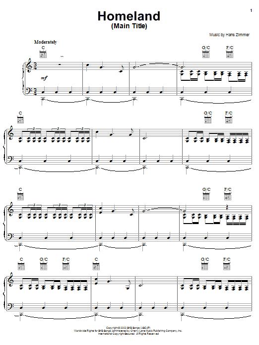 Download Hans Zimmer Homeland (Main Title from Spirit: Stallion Of The Cimarron) sheet music and printable PDF score & Children music notes