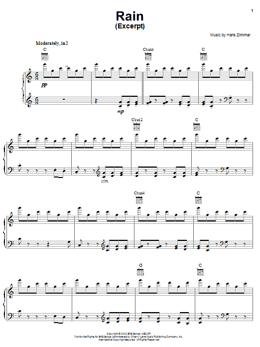 Download Hans Zimmer Rain (from Spirit: Stallion Of The Cimarron) sheet music and printable PDF score & Children music notes