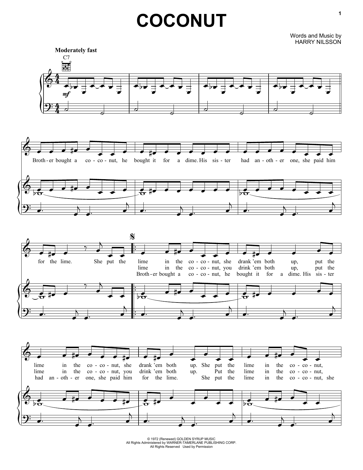 Download Harry Nilsson Coconut sheet music and printable PDF score & Pop music notes