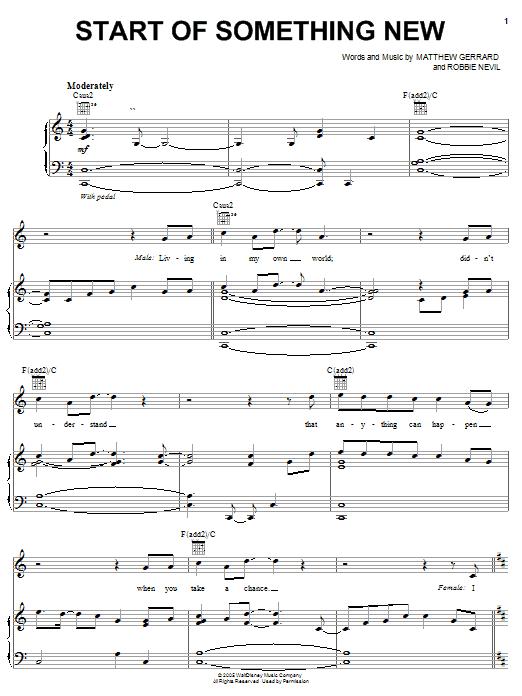 Download Zac Efron Start Of Something New sheet music and printable PDF score & Pop music notes