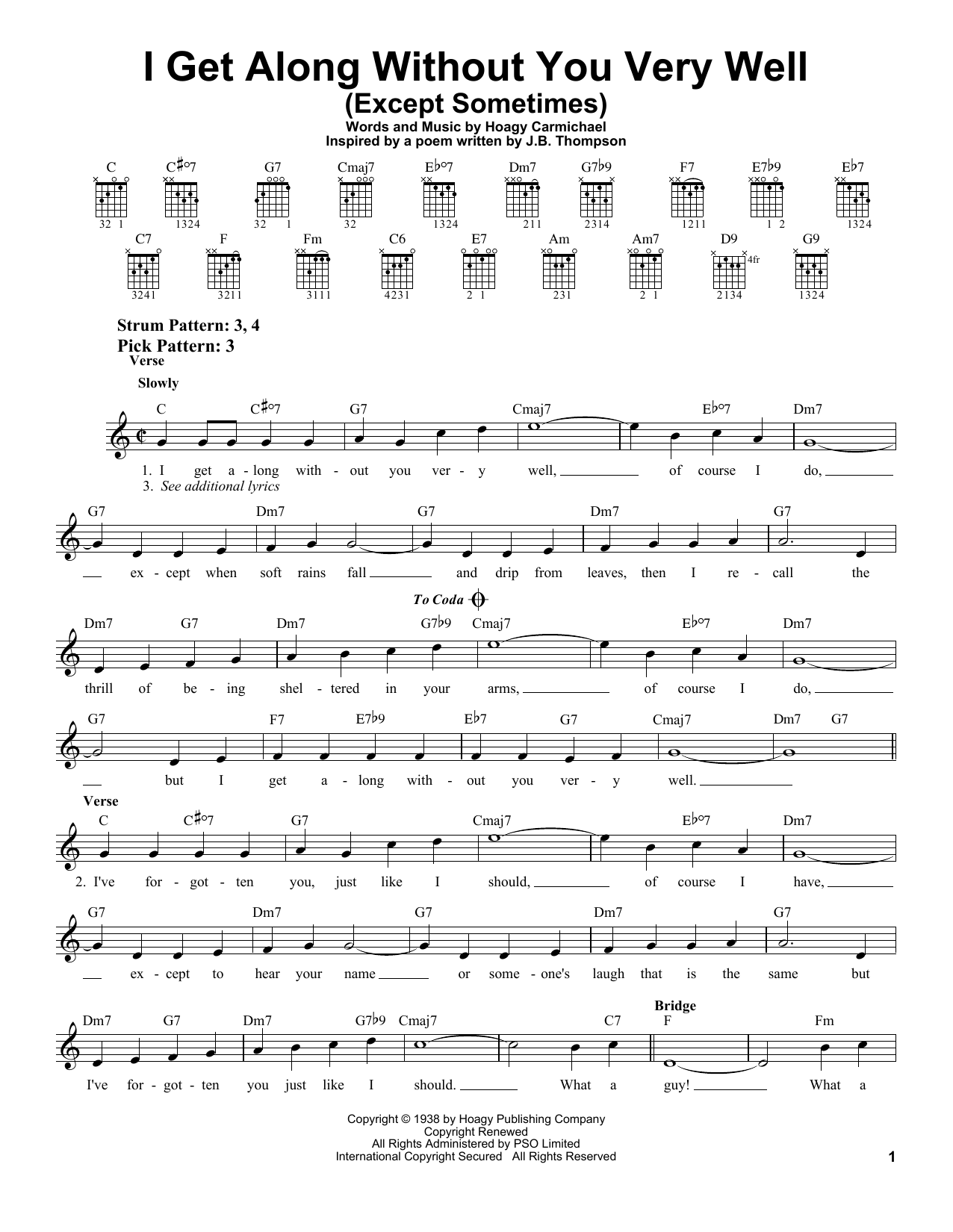 Download Hoagy Carmichael I Get Along Without You Very Well (Except Sometimes) sheet music and printable PDF score & Jazz music notes