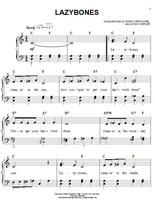 Download Hoagy Carmichael Lazybones sheet music and printable PDF score & Jazz music notes