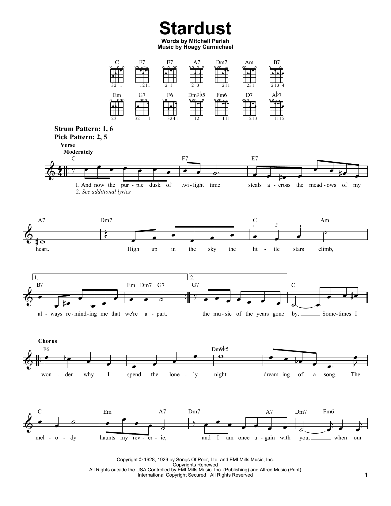 Download Hoagy Carmichael Stardust sheet music and printable PDF score & Jazz music notes