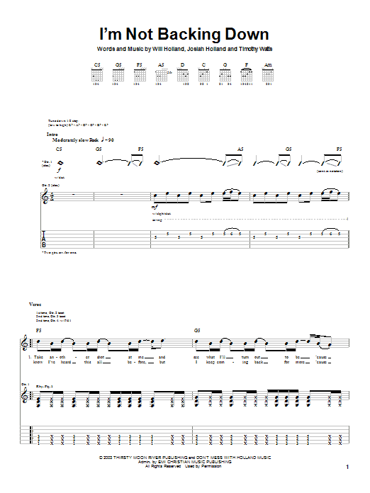 Download Holland I'm Not Backing Down sheet music and printable PDF score & Rock music notes