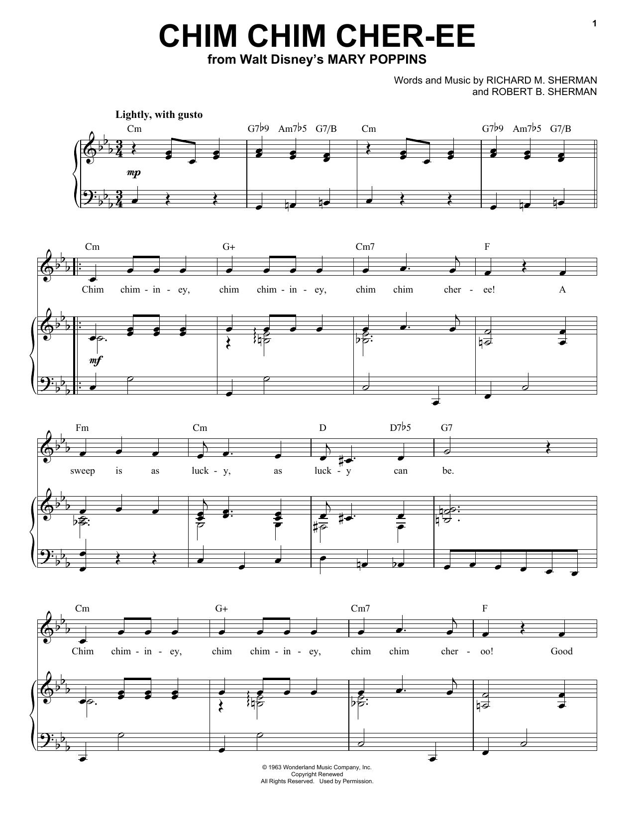 Download Ilene Woods Chim Chim Cher-ee sheet music and printable PDF score & Children music notes