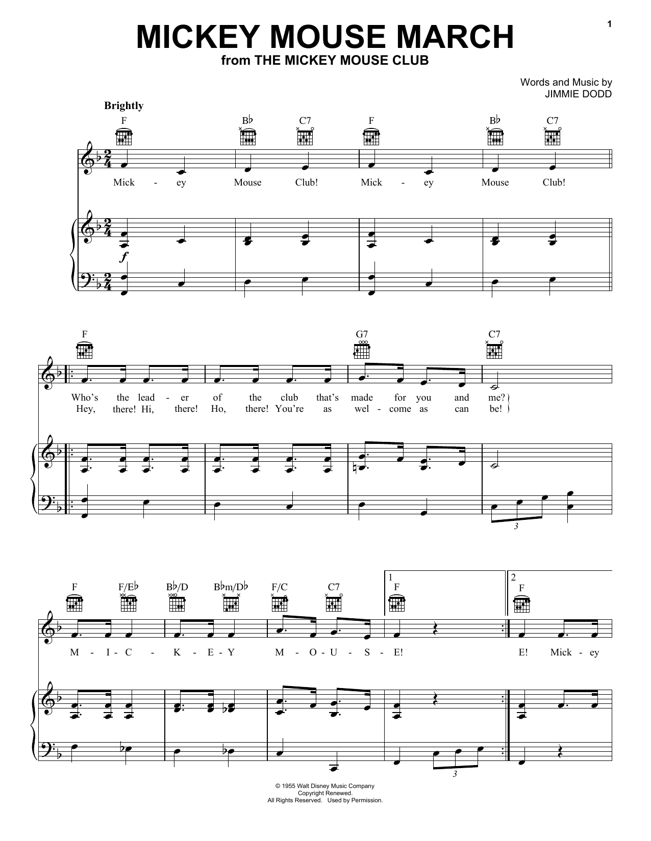 Download Ilene Woods Mickey Mouse March sheet music and printable PDF score & Children music notes