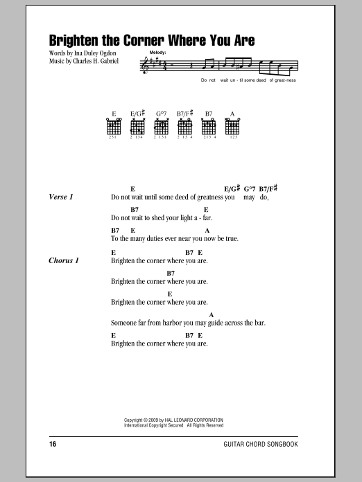 Download Ina Duley Ogdon Brighten The Corner Where You Are sheet music and printable PDF score & Religious music notes
