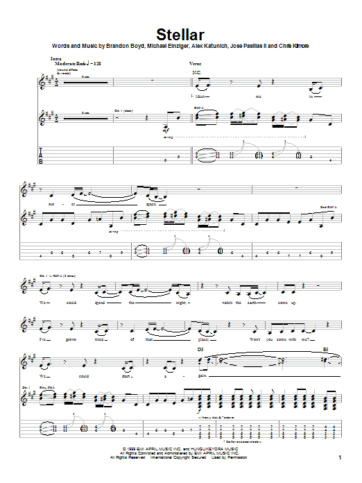 Download Incubus Stellar sheet music and printable PDF score & Pop music notes