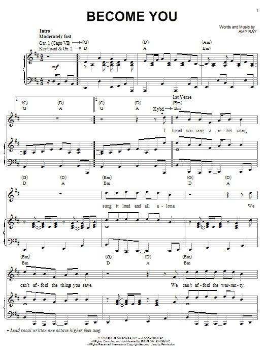 Download Indigo Girls Become You sheet music and printable PDF score & Pop music notes