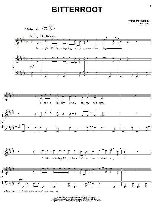 Download Indigo Girls Bitterroot sheet music and printable PDF score & Pop music notes