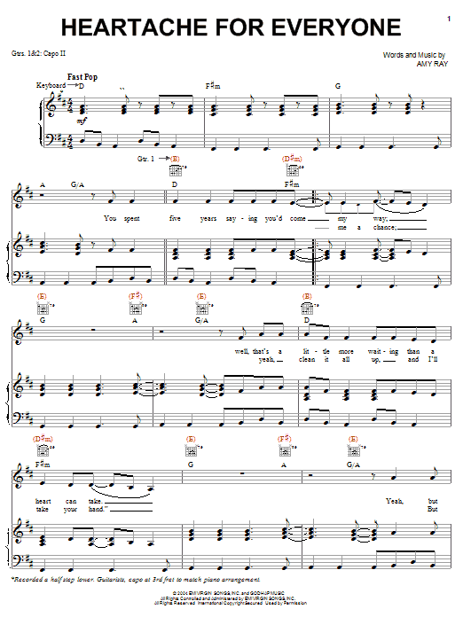 Download Indigo Girls Heartache For Everyone sheet music and printable PDF score & Pop music notes