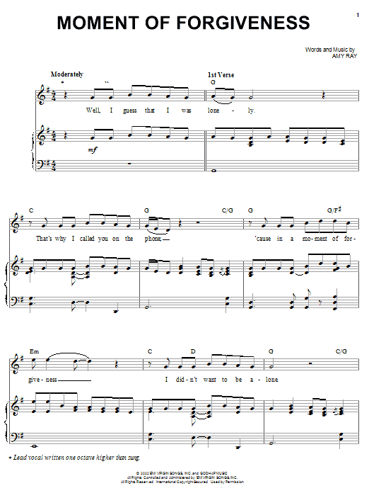 Download Indigo Girls Moment Of Forgiveness sheet music and printable PDF score & Pop music notes